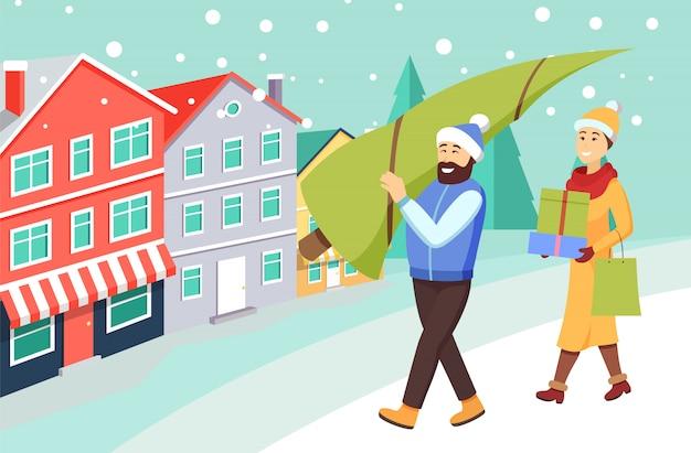 Vrouw en man die van het winkelen van kerstmis terugkeren Premium Vector