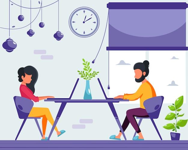 Vrouw en man freelancers werken aan een laptop thuis. blijf thuis concept. afstandswerk. thuiskantoor. illustratie in een vlakke stijl. Premium Vector