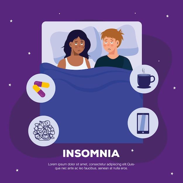Vrouw en man met slapeloosheid in bedontwerp, slaap- en nachtthema. Premium Vector