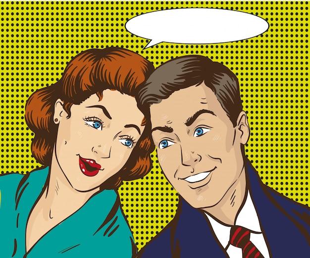 Vrouw en man praten met elkaar. retro strip. roddels, geruchten praten Premium Vector