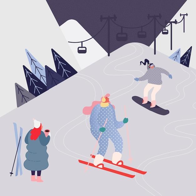 Vrouw en man skiën in de bergen. mensen karakter met ski's op de achtergrond van het sneeuwlandschap. winter buiten vrije tijd in resort, extreme sport. Premium Vector