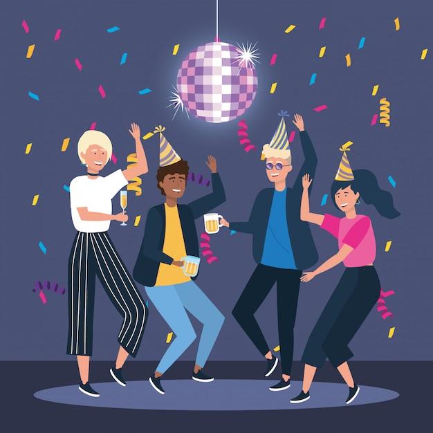 Vrouw en mannen die met hoed en confettiendecoratie dansen Gratis Vector