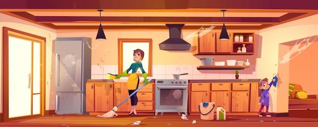 Vrouw en meisje die het schoonmaken op keuken doen Gratis Vector