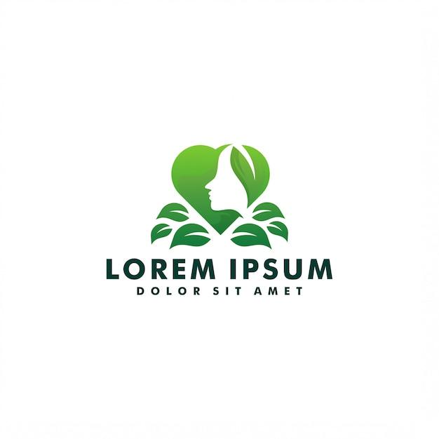 Vrouw en natuur blad logo Premium Vector
