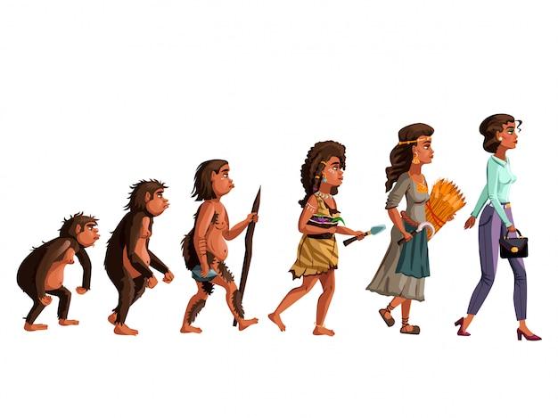 Vrouw evolutie vector cartoon Gratis Vector
