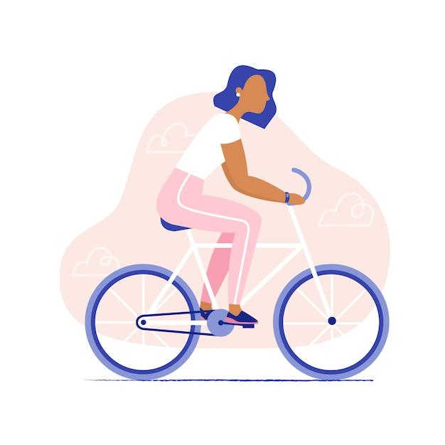 Vrouw fietsten. gezonde vrouwen berijdende fiets, geïsoleerd zijaanzicht ,. stijlvolle platte vectorillustratie. Premium Vector