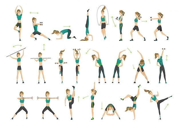 Vrouw fitness. verzameling van aërobe training voor training. actief en gezond leven concept. vrouw doet fitness en fysieke oefeningen Premium Vector
