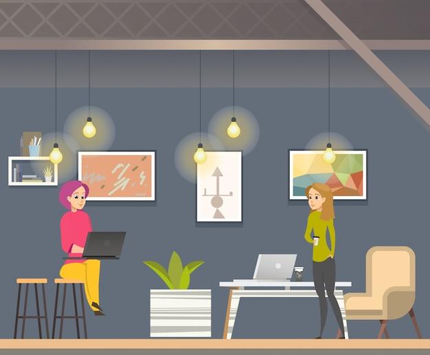 Vrouw freelancer werken in coworking open space Premium Vector