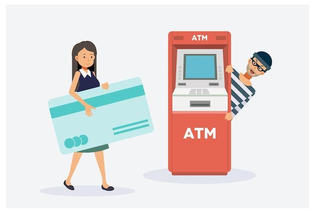 Vrouw gaat geld halen uit geldautomaat, mannelijke dief wacht op stelen. Premium Vector