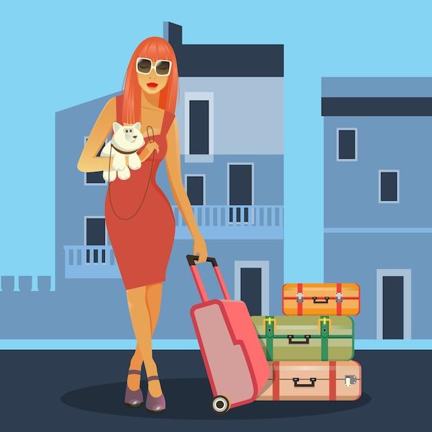 Vrouw gaat naar vakantie. vrouw met bagage. meisje met een hond. reisbanner. Premium Vector