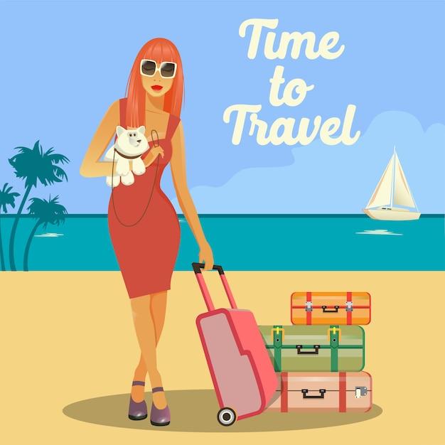 Vrouw gaat naar vakantie. vrouw met bagage. meisje met een hond. tropische vakantie. reisbanner. Premium Vector
