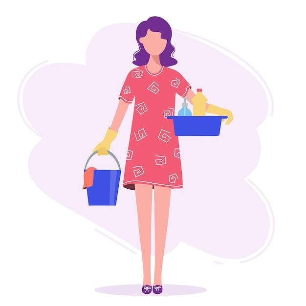 Vrouw gaat schoonmaken, in haar handen een emmer en een bak. Premium Vector