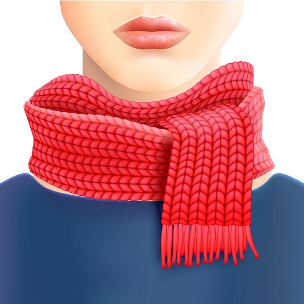 Vrouw gebreide rode sjaal advertentie afdrukken Gratis Vector