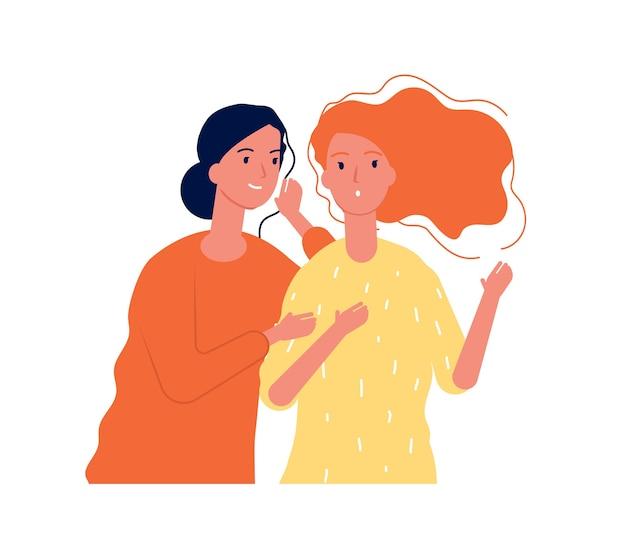 Vrouw geheimen. dames vriendinnen praten over onverwacht roddelen fluisteren Premium Vector