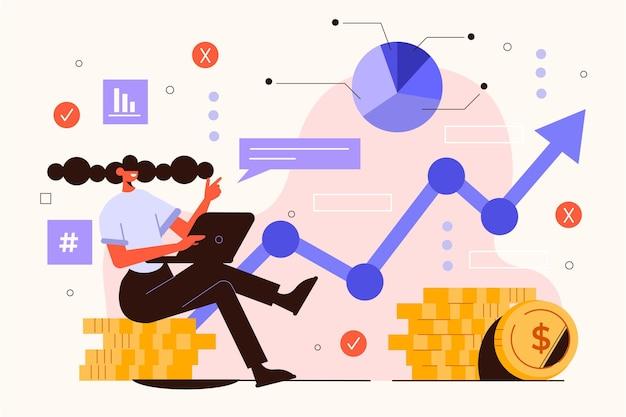 Vrouw geïllustreerd met de grafieken van de effectenbeursanalyse Gratis Vector