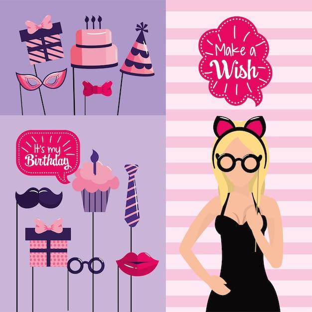 Top Vrouw gelukkige verjaardag met feestdecoratie | Vector | Premium #SG74