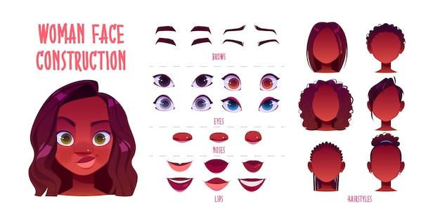 Vrouw gezicht constructeur, avatar van afro-amerikaanse vrouwelijke personage creatie donkere huid hoofden, kapsel, neus, ogen met wenkbrauwen en lippen. Gratis Vector