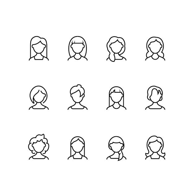 Vrouw gezicht lijn pictogrammen Premium Vector
