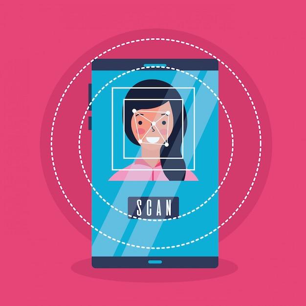 Vrouw gezicht scan proces gadget Gratis Vector