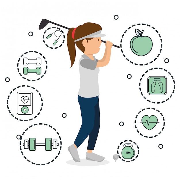 Vrouw golfen met sport pictogrammen Gratis Vector