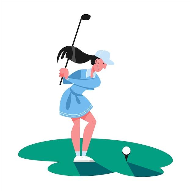 Vrouw golfen. persoon bedrijf club en bal. zomercompetitie, buitenspel. illustratie Premium Vector