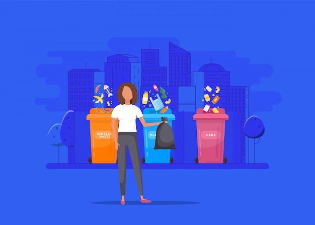 Vrouw gooit afval in een organische container Premium Vector