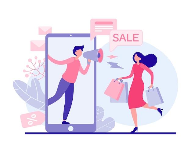 Vrouw haasten naar vakantie verkoop vlakke afbeelding. vrouwelijke personage met tassen loopt winkel voor promotieartikelen. marketeer met megafoon in online applicatie praat over e-commercekortingen. Premium Vector