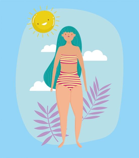 Vrouw hallo zomervakantie Premium Vector
