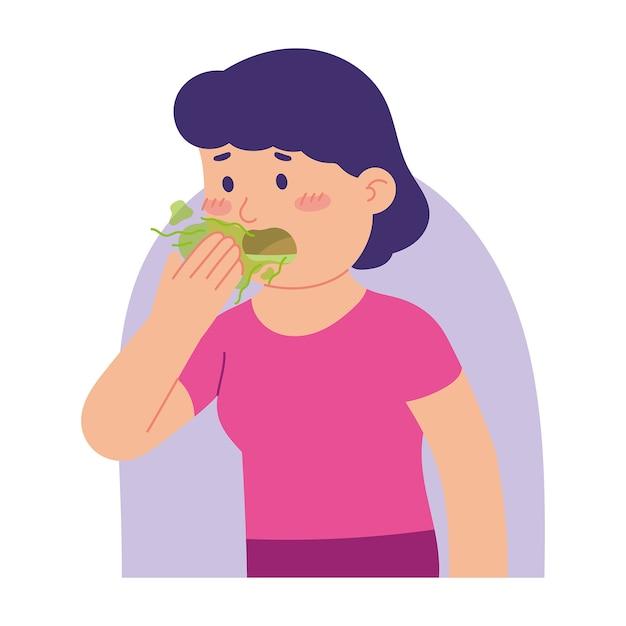 Vrouw heeft een slechte geur in haar mond Premium Vector