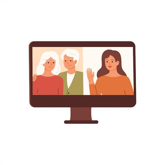 Vrouw heeft een videoconferentie met haar ouders. familie-videogesprek, gesprek op afstand. vector Premium Vector