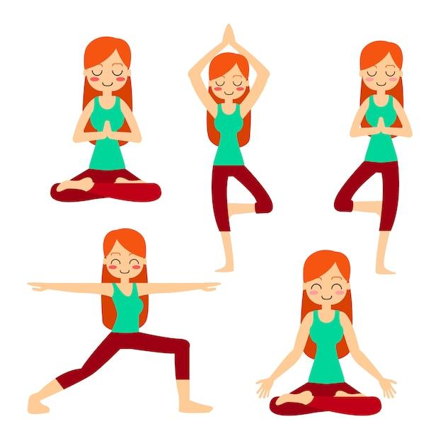 Vrouw het praktizeren yoga in de boom stelt. in asana vrikshasana. Gratis Vector