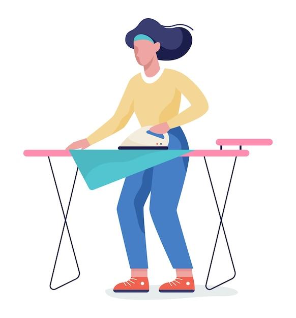 Vrouw ijzer kleren op strijkplank. idee van huishoudelijk werk en wasgoed. huishoudelijk werk concept. illustratie Premium Vector
