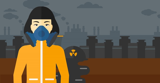 Vrouw in beschermend chemisch pak. Premium Vector