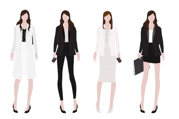 Vrouw in collectie van de werkingsuitrusting de vlakke stijl Premium Vector