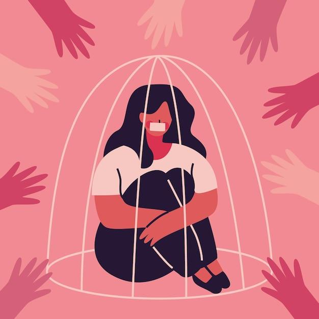 Vrouw in concept van kooi het pro burgerrechten Gratis Vector