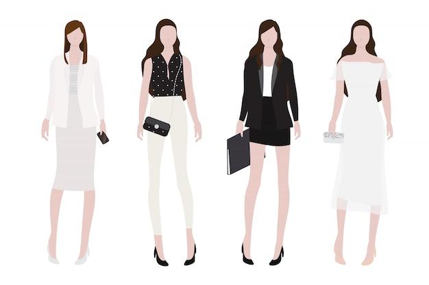 Vrouw in dag-tot-nacht outfit vlakke stijl collectie Premium Vector