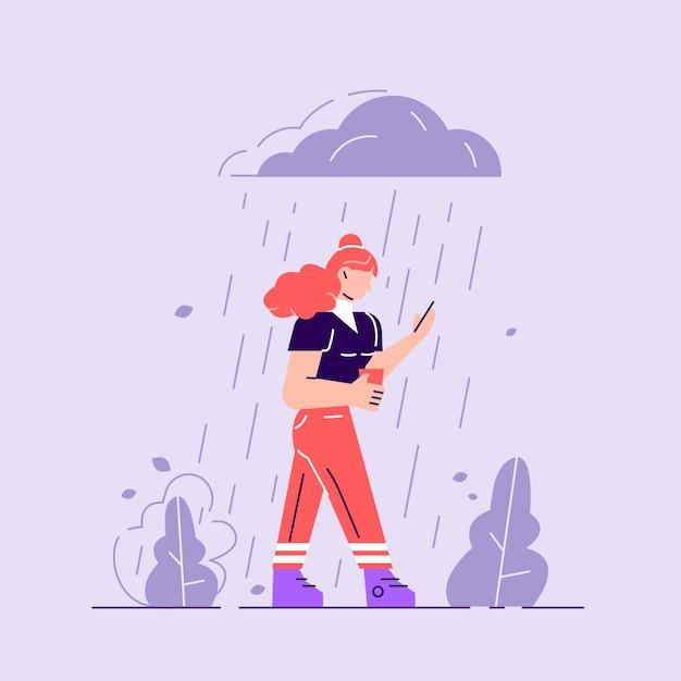 Vrouw in depressie. droevig karakter dat zich onder de regen bevindt. bewolkt weer Premium Vector