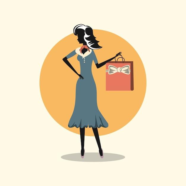 Vrouw in een elegante jurk winkelen retro-stijl Premium Vector