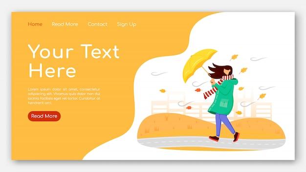 Vrouw in egale kleur vectormalplaatje van de regenjas de bestemmingspagina. vrouw met paraplu homepage lay-out. website ontwerp Premium Vector