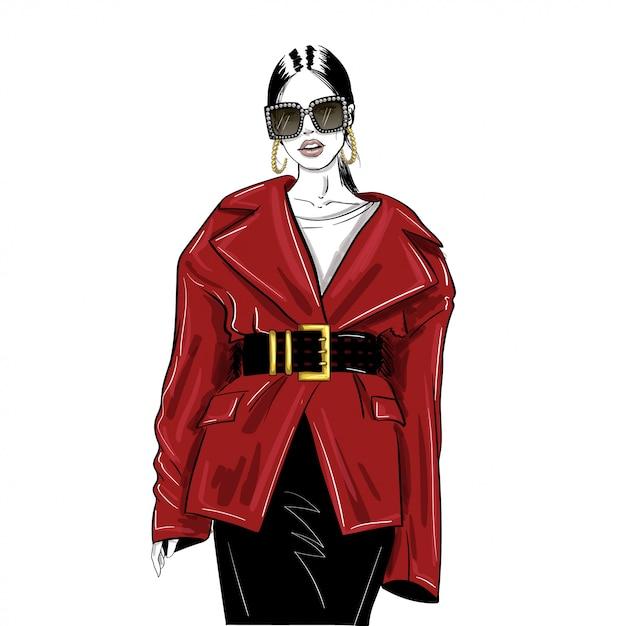 Vrouw in glazen en oversized rode jas Premium Vector