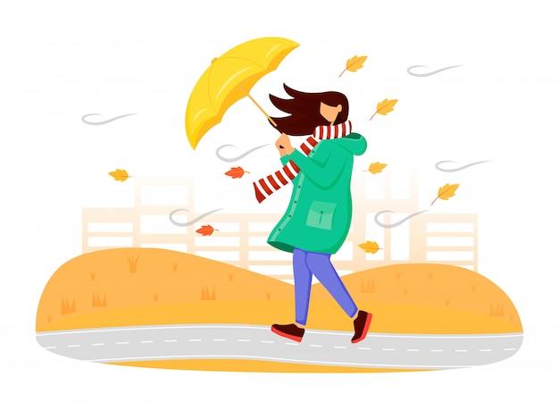 Vrouw in het groene anonieme karakter van de regenjaskleur. herfst natuur. winderig weer. vrouw met paraplu. lopende kaukasische dame in sjaal geïsoleerde beeldverhaalillustratie op witte achtergrond Premium Vector