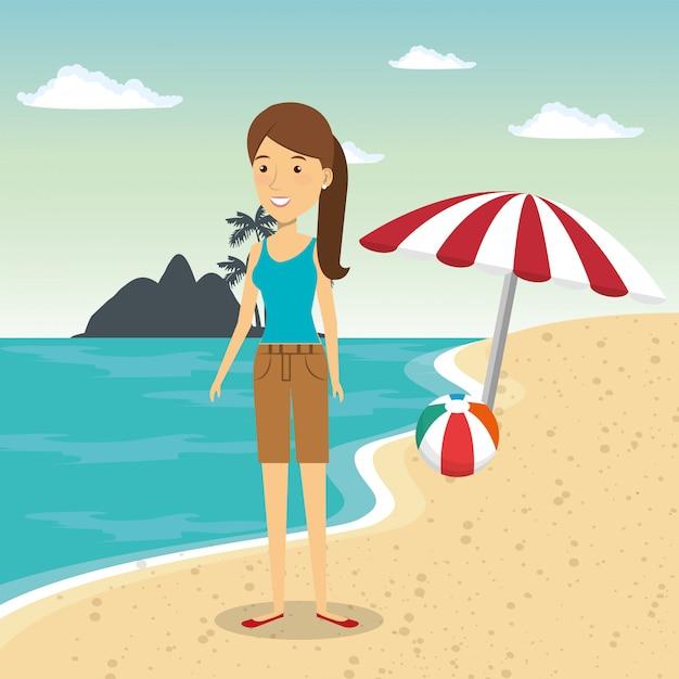 Vrouw in het strandkarakter Gratis Vector