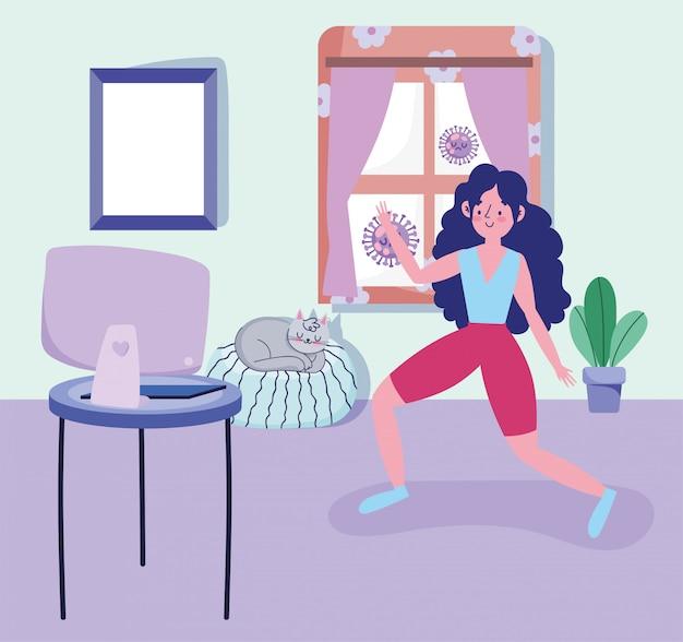 Vrouw in kamer het beoefenen van activiteit sport oefening thuis covid pandemie 19 Premium Vector