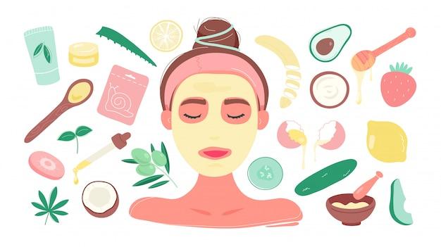 Vrouw in masker met diy-producten voor gezichtsmaskers Premium Vector
