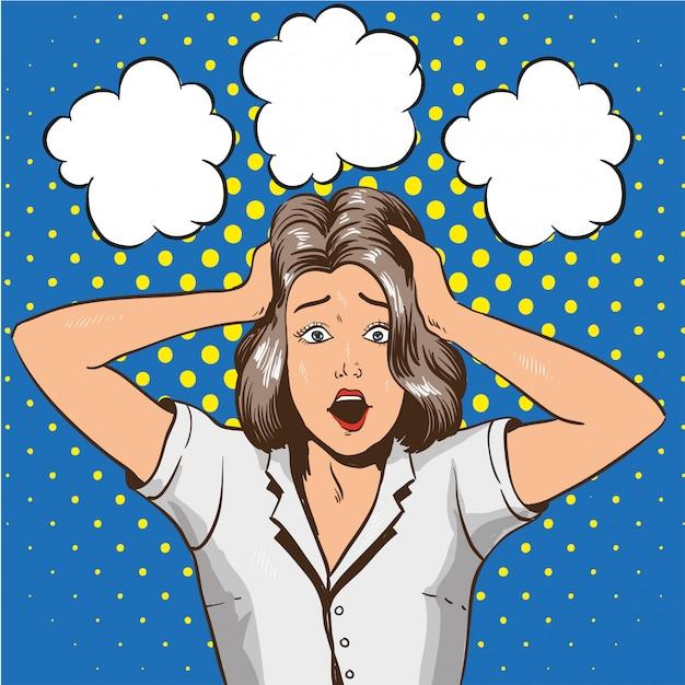 Vrouw in paniek. benadrukt meisje in shock grijpt haar hoofd in handen Premium Vector