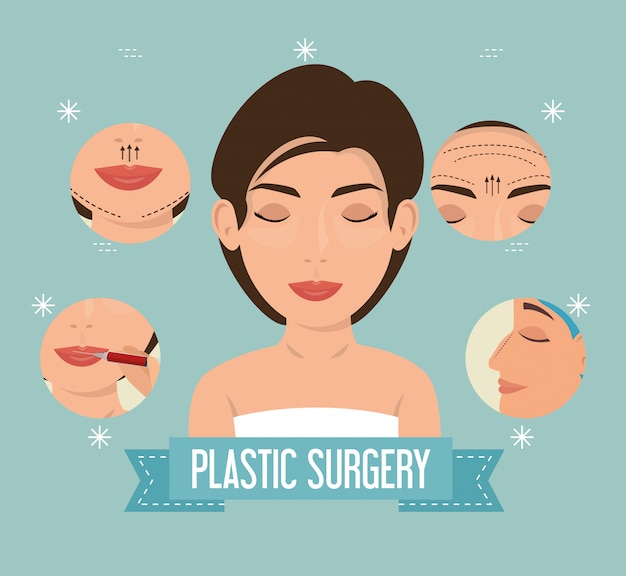 Vrouw in plastische chirurgieproces Gratis Vector