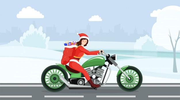 Vrouw in santa claus-kostuum het berijden karakter van het motorbeeldverhaal Premium Vector