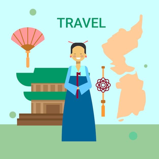 Vrouw in traditionele koreaanse kleren over de kaart van korea Premium Vector