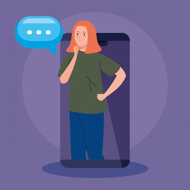 Vrouw in videoconferentie in smartphone Premium Vector