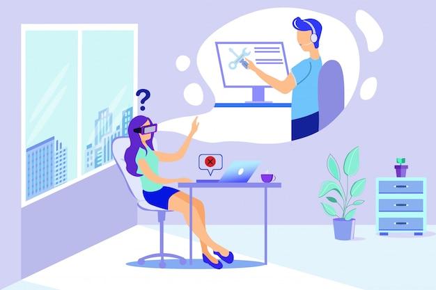 Vrouw in vr-bril man reparateur virtuele hulp Premium Vector